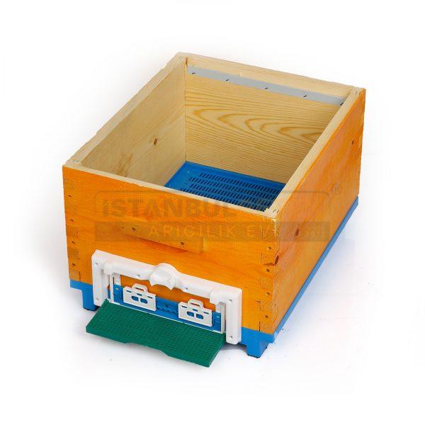 Arı kovanı mavi plastik tabanlı geçmeli 2 katlı